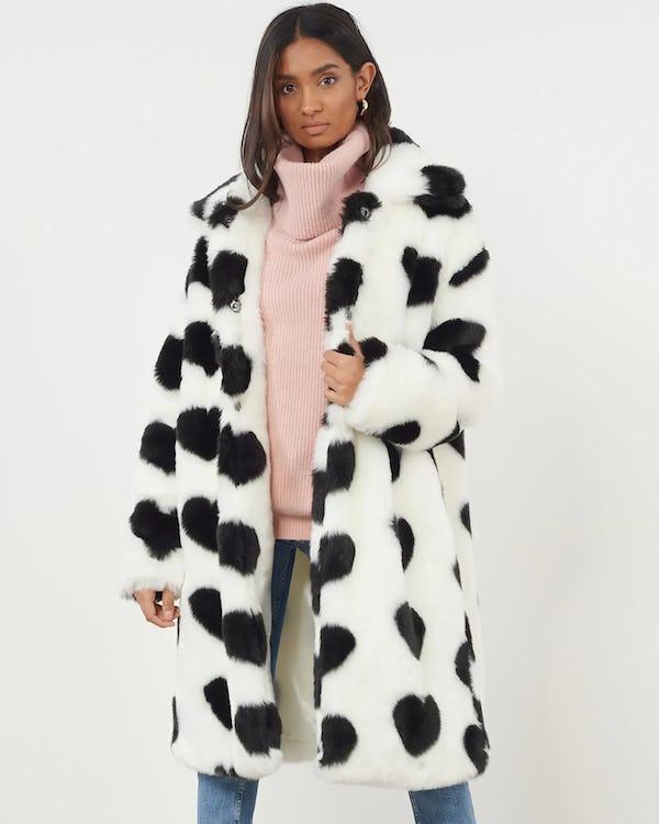 Cream Heart Print Faux Fur Coat, White Long Line Faux Fur Zebra Print Coat