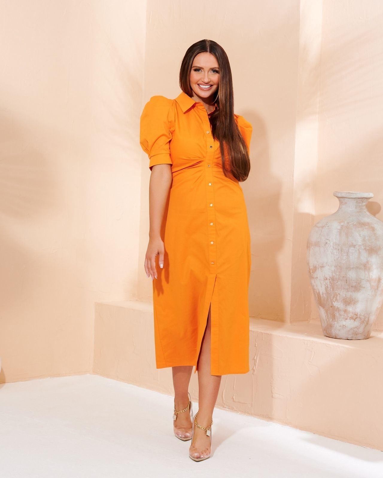 Orange Ruched Midi Dress with Puff Sleeve - 10